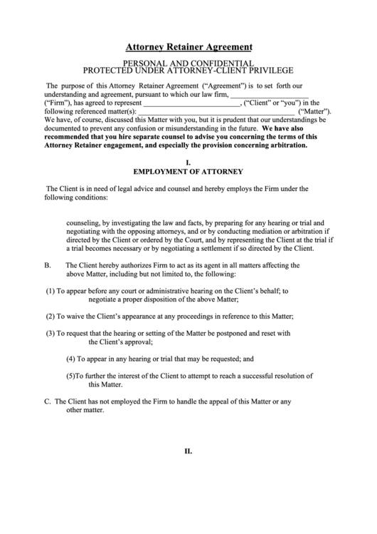 attorney retainer agreement template printable pdf download. Black Bedroom Furniture Sets. Home Design Ideas