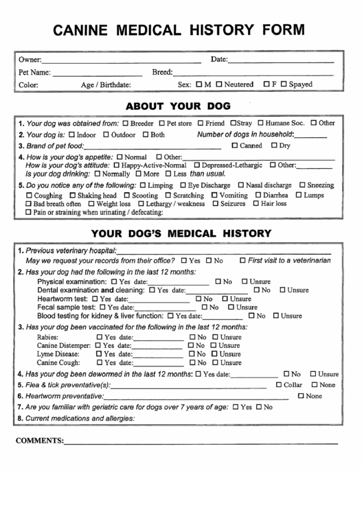 Canine Medical History Form
