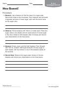 Chemistry Worksheet - How Sweet