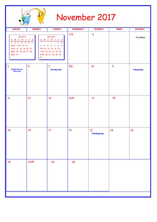 Adventure Time November 2017 Calendar Template