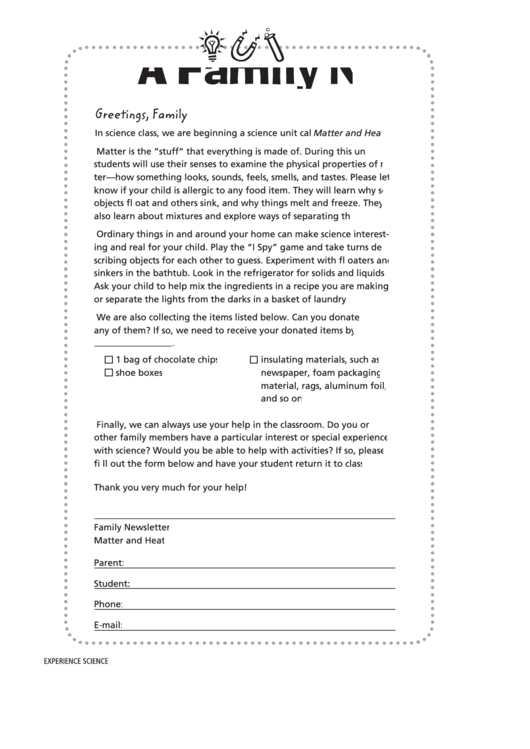 A Family Newsletter Template Printable pdf