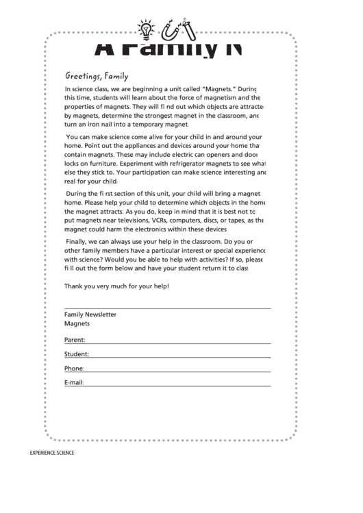 A Family Newsletter Template