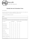 Quality Service Evaluation Form