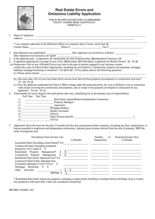 Form Rea - Real Estate Errors And Omissions Liability Application Form