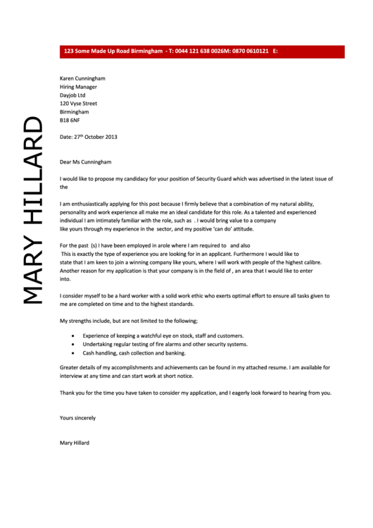 Security Guard Cover Letter Sample - Dayjob - 2013 Printable pdf