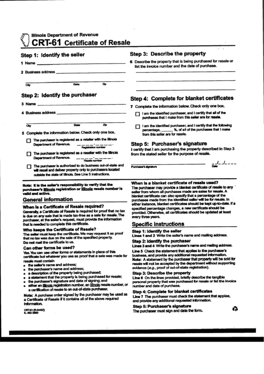 Form Crt-61 - Certificate Of Resale printable pdf download