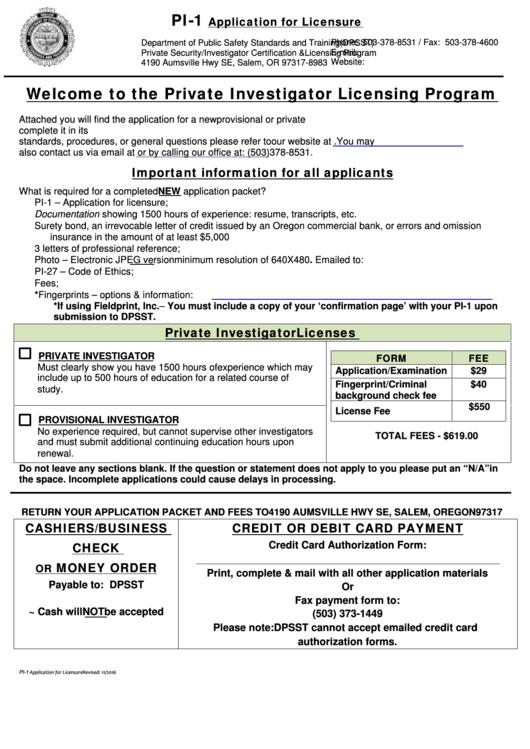 Fillable Form Pi 1 Application For Licensure Oregon Department