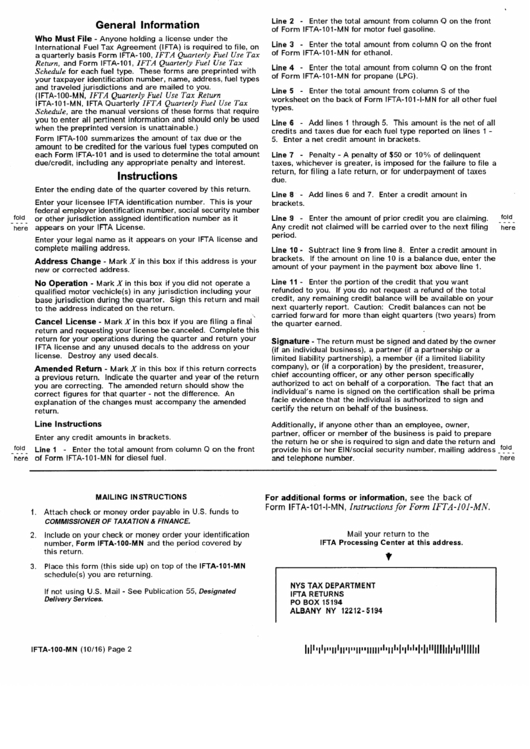 Form Ifta-100-mn Instructions - Quarterly Fuels Use Tax Report - 2016