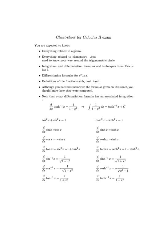 Calculus 2 Cheat Sheet printable pdf download