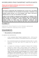Guidelines For Ghana Passport Applicants