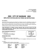 City Of Saginaw Employer's Withholding Tax Forms And Instructions - 2003