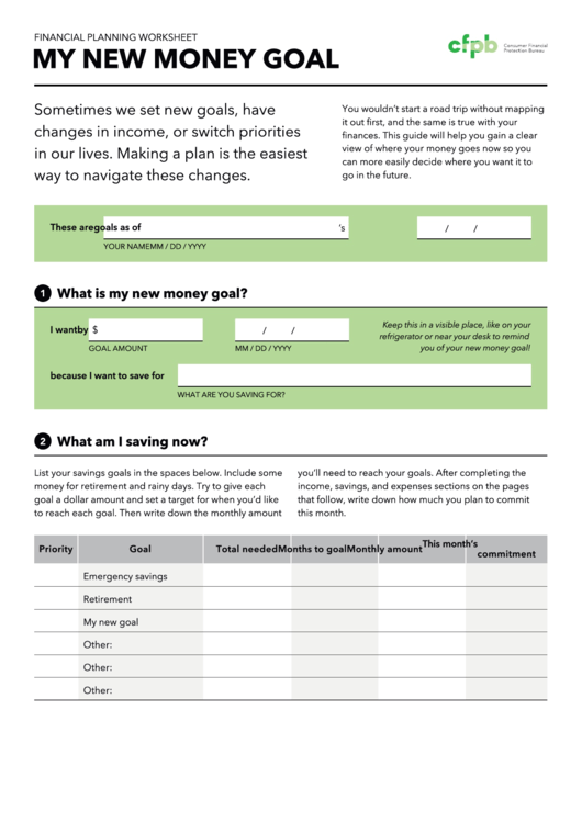 Financial Planning Worksheet - My New Money Goal