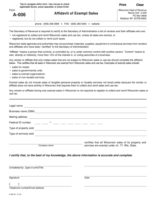 Form A-006 - Affidavit Of Exempt Sales