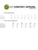 24/7 Comfort Apparel Size Chart