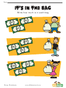 It's In The Bag Money Activity Sheet