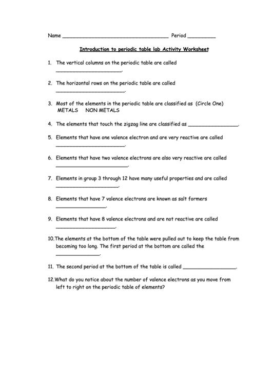 Periodic Table Lab Activity Worksheet Printable pdf