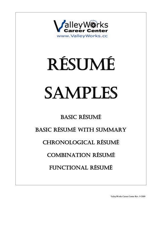 Resume Samples Templates Printable pdf