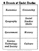 8 Strands Of Social Studies Flash Card Templates