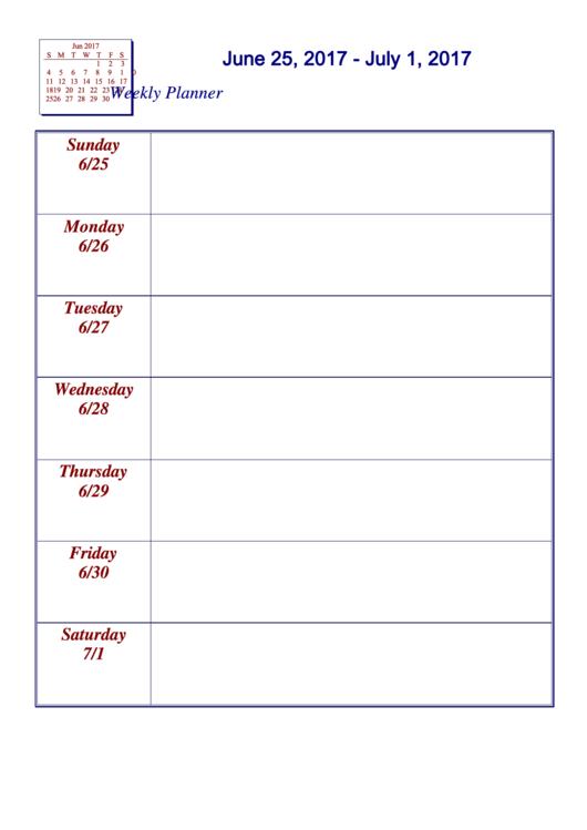 June 25, 2017 - July 1, 2017 Weekly Planner Template