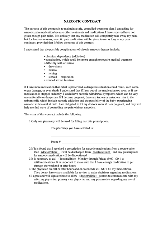 Narcotic Contract Template