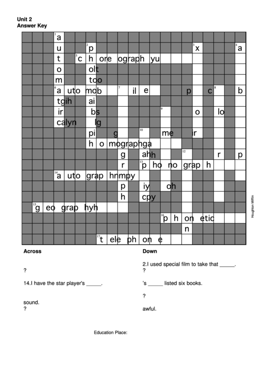 crossword puzzle template with answers