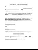 Notice Of Claim Against Security Deposit