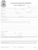 Citizen Complaint Form - Village Of Butler Police Department