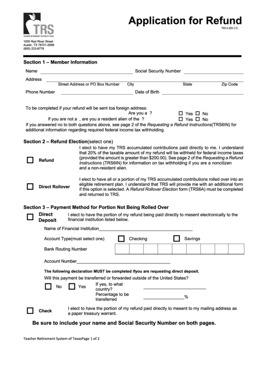 Form Trs 6 - Application For Refund