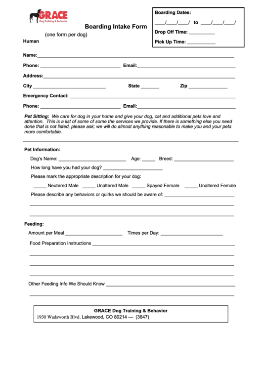 Boarding Intake Form printable pdf download