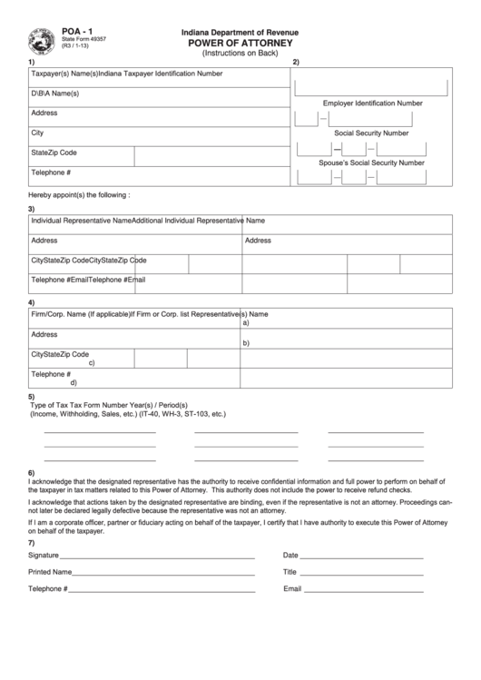 Form Poa-1 - Power Of Attorney - Indiana Department Of Revenue