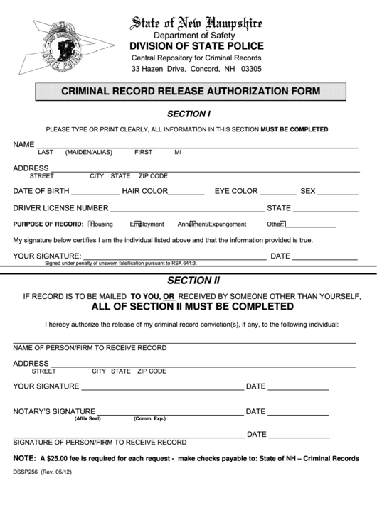 Form Dssp256 - Criminal Record Release Authorization Form - New Hampshire Department Of Safety