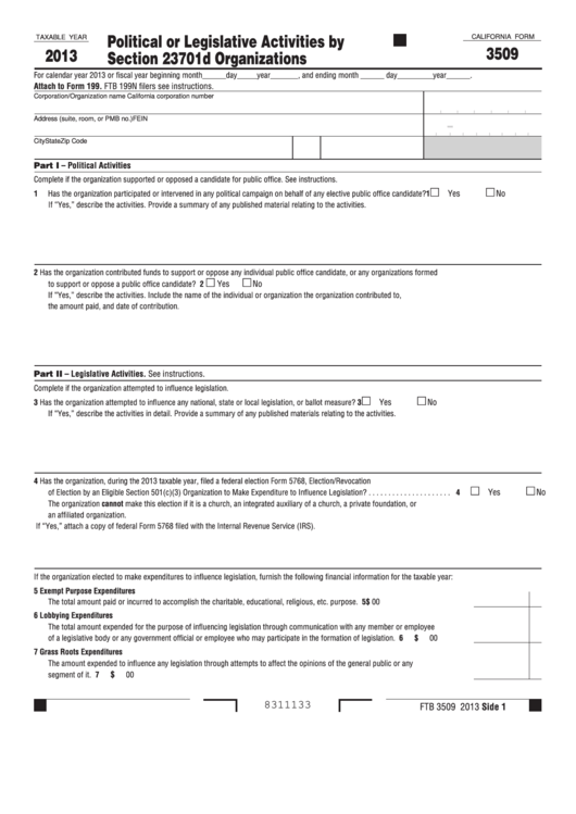 Fillable California Form 3509 - Political Or Legislative Activities By Section 23701d Organizations - 2013 Printable pdf
