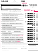 Form Sd-100 - School District Income Tax Return - 2001