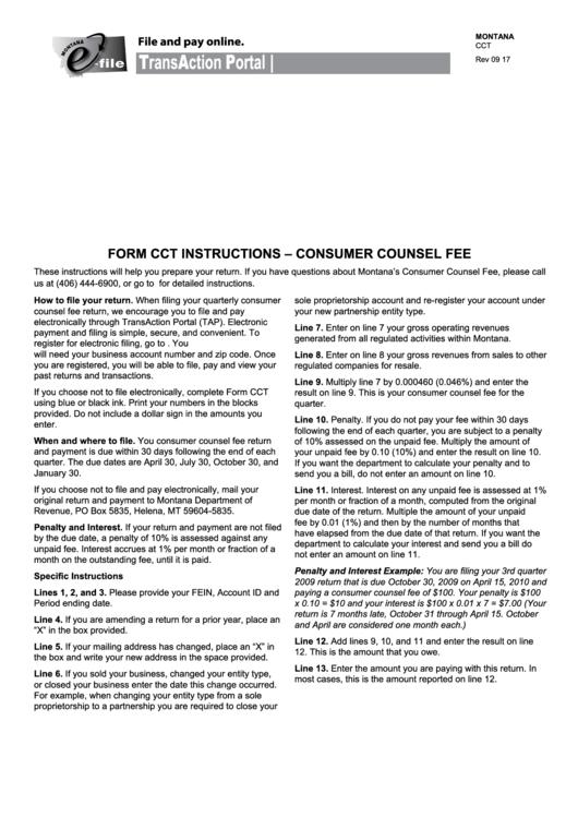 Montana Form Cct - Consumer Counsel Fee - 2016-2017