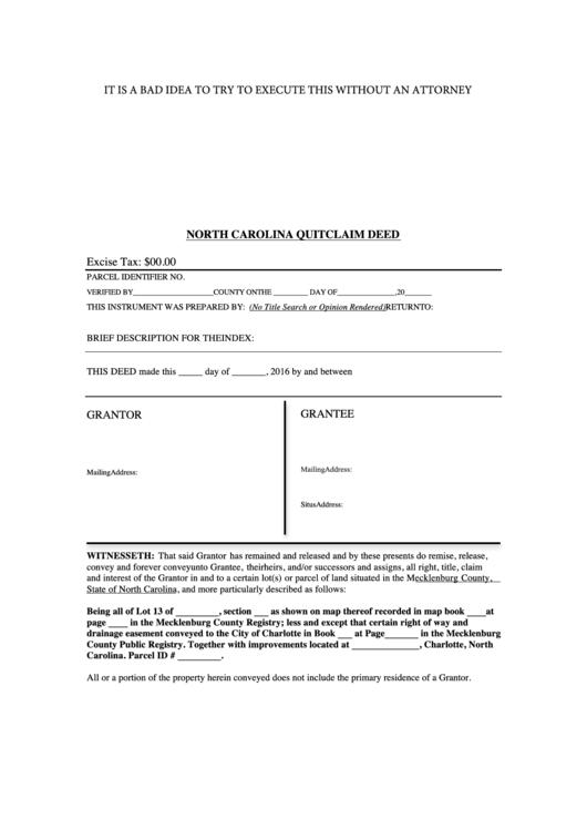 north carolina quitclaim deed printable pdf download