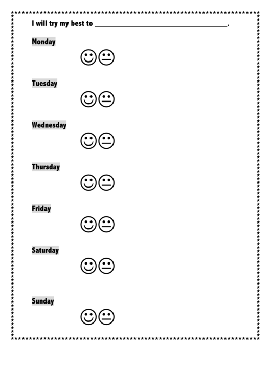 I Will Try My Best To Weekly Behavior Chart Printable pdf