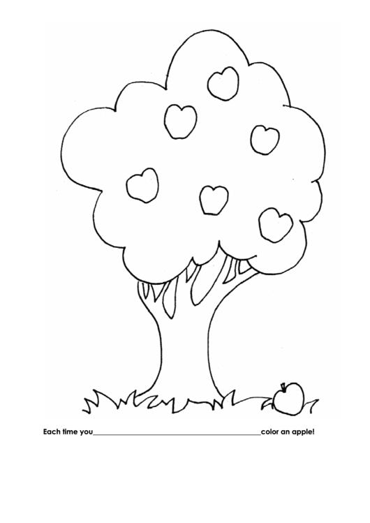 Color Apple On Tree Behavior Chart Printable pdf