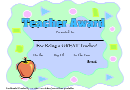 Teacher Award Certificate