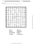 Veterans Day Word Search Puzzle Worksheet