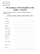 Form 7 - Application Form For Entry Visa - The Embassy Of The Republic Of The Sudan - Pretoria