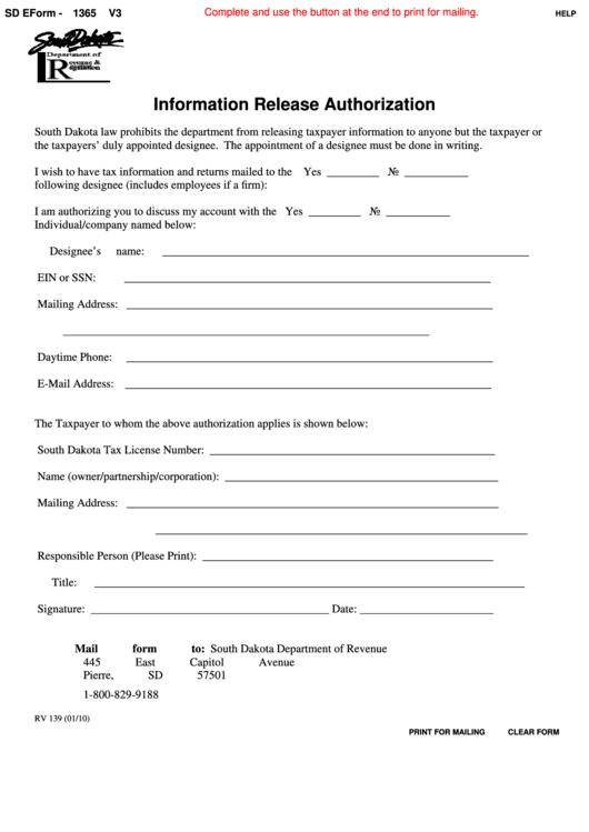 Fillable Sd Eform-1365 V3 - Information Release Authorization - 2010 Printable pdf