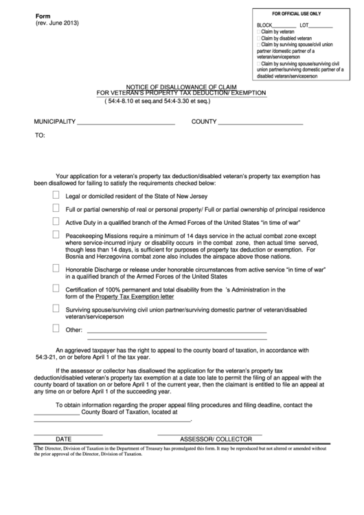 Form V.n.d.a - Notice Of Disallowance Of Claim For Veteran's Property Tax Deduction/ Exemption - 2013