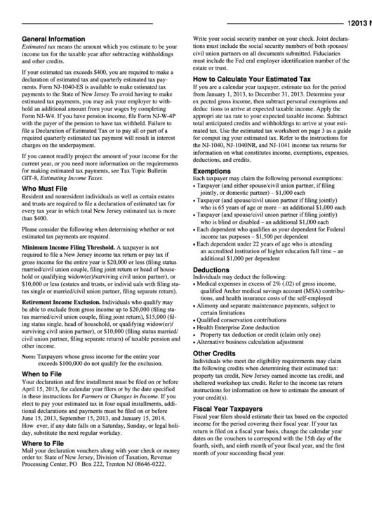 Form Nj-1040-es - Estimated Tax Worksheet For Individuals - 2013