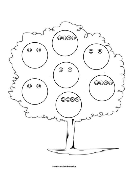 Tree With Smiles Behavior Chart Printable pdf