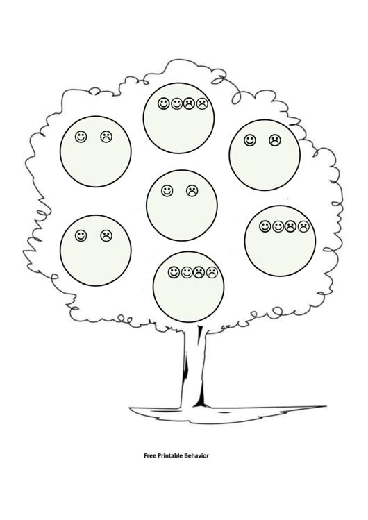 Colored Tree With Smiles Behavior Chart Printable pdf