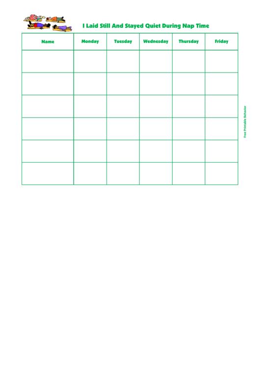 Quiet During Nap Behavior Chart Printable pdf