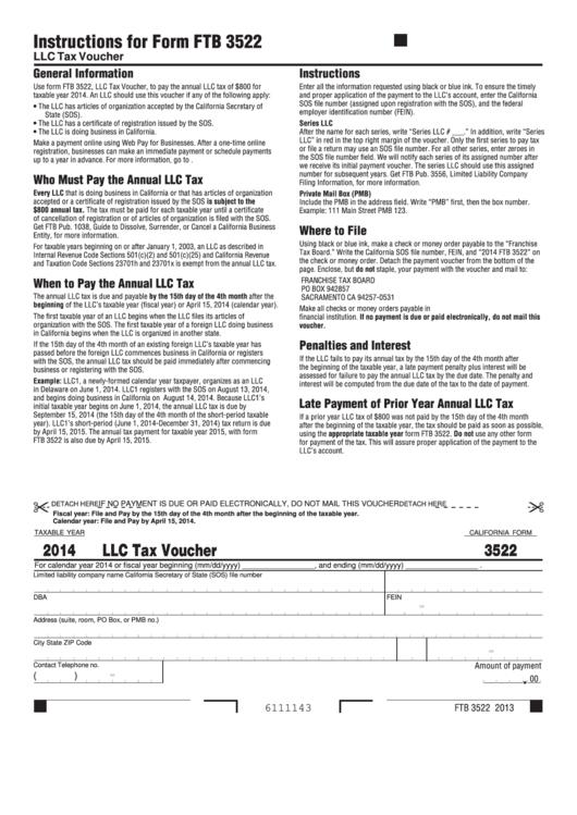 Fillable California Form 3522 Draft - Llc Tax Voucher - 2014 Printable pdf