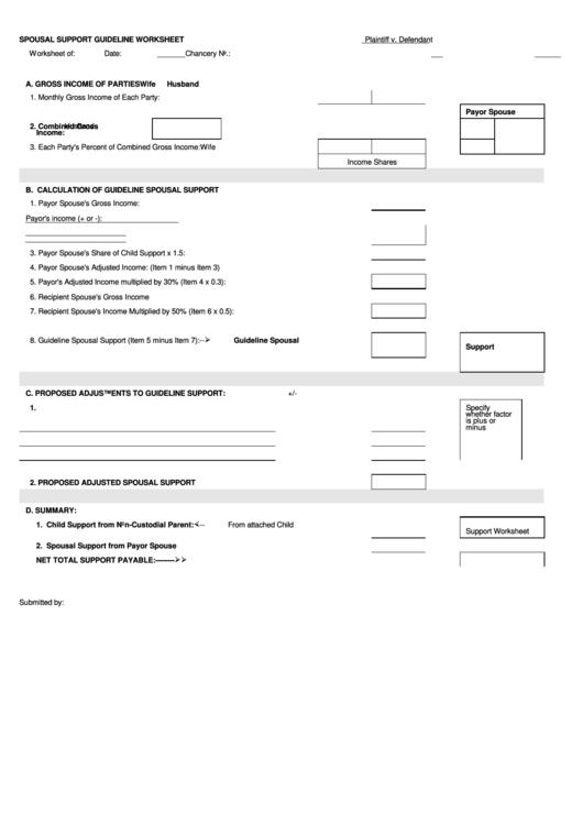 Spousal Support Guideline Worksheet