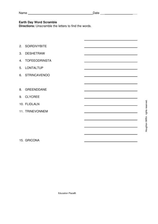 Earth Day Word Scramble Worksheet printable pdf download