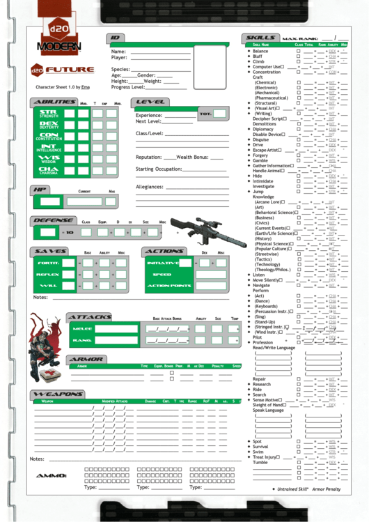 D20 Modern Character Sheet Printable Pdf Download